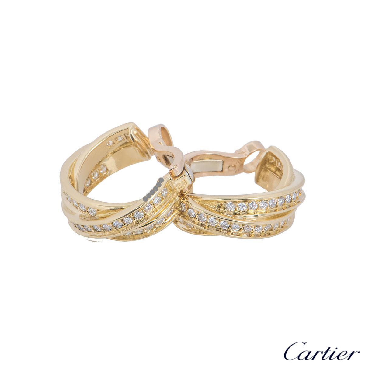 Cartier Yellow Gold Diamond Trinity De Cartier Earrings